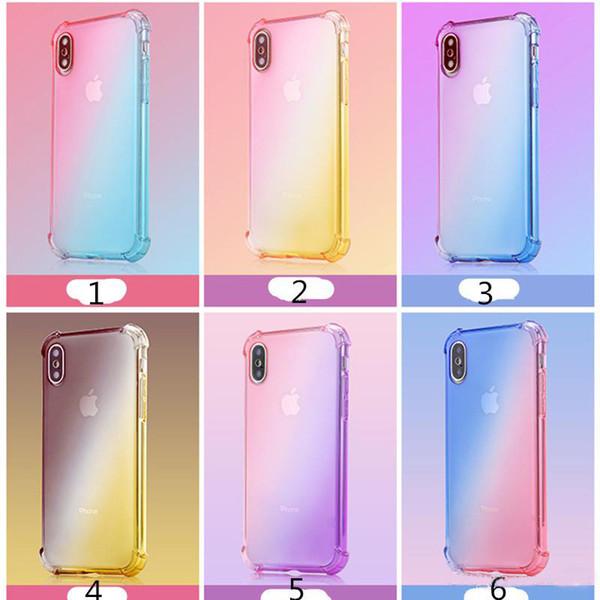 Cajas del teléfono Rainbow Colores degradados Anti Airbag a prueba de golpes Suave TPU Cubiertas transparentes Cubiertas traseras de cuatro ángulos