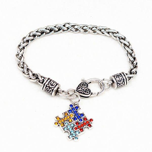 Moda Bracciali donne dei braccialetti dello smalto della lega Autism Awareness Pezzo autistico fascino del braccialetto della ragazza monili # 13