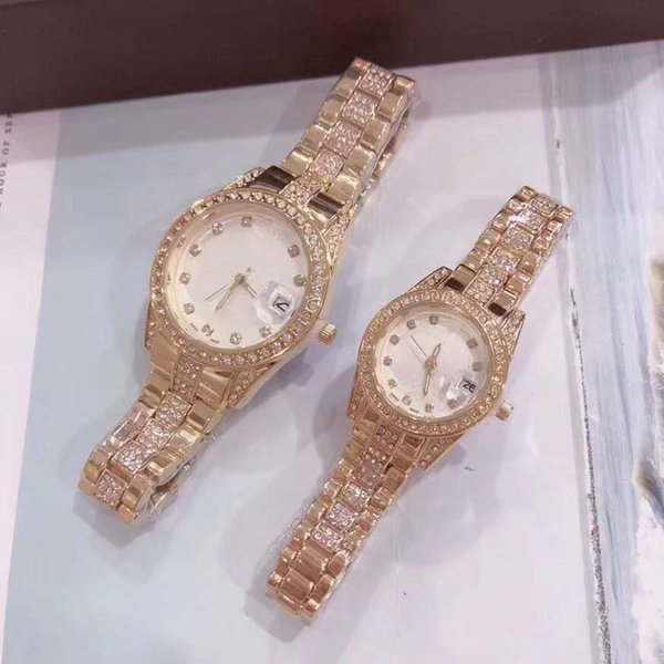 luxury mens women lover designer watches iced out watch diamond quartz couple Wristwatches orologio di lusso best gift