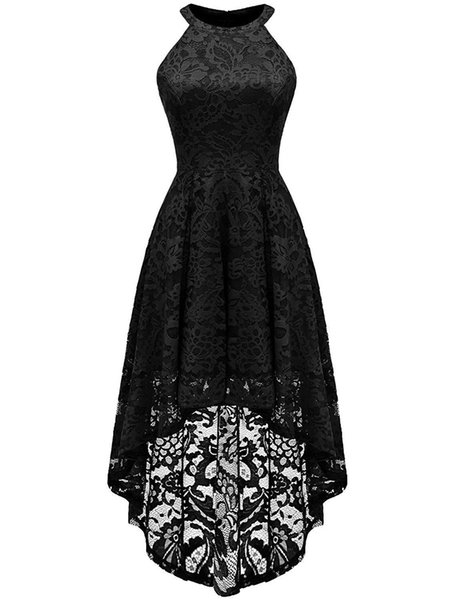 2019 New Fashion Sexy Jewel Lace Party Gowns With Hi-Lo Zipper Plus Size Formal Evening Celebrity Dresses BE25