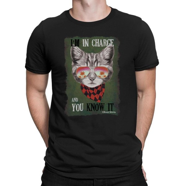 IM IN CHARGE AND YOU KNOW IT Mens Funny Cat T-Shirt Christmas Birthday Gift Men Tee Shirt Tops Short Sleeve Cotton Fitness T-Shirts