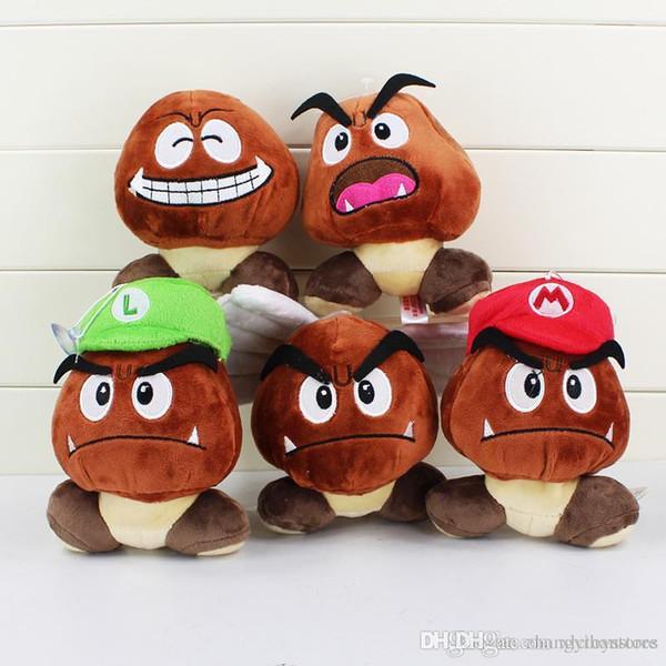 Großhandel-Super Mario Bros Plüschtier weiche Puppe Goomba mit Mario Luigi Hut Puppe 5,1