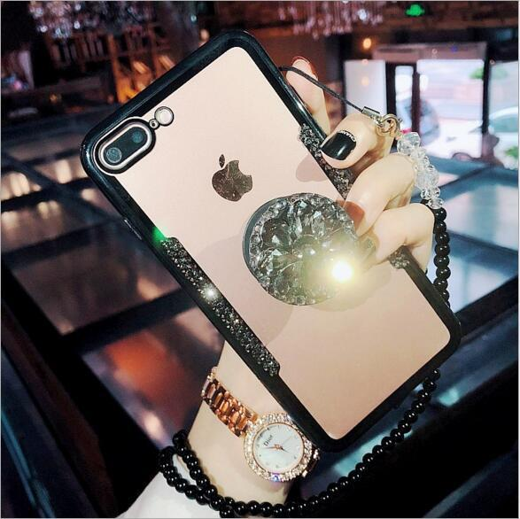 Fashion Luxury rhinestone phone case for iPhone Xs 6 7 8plus bracket Transparent glass mobile phone cover with Crystal lanyard