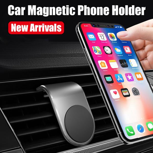 Support de téléphone de voiture magnétique Universal L forme Air Vent Mount in voiture aimant GPS Mobile Phone Holder pour iPhone et Samsung