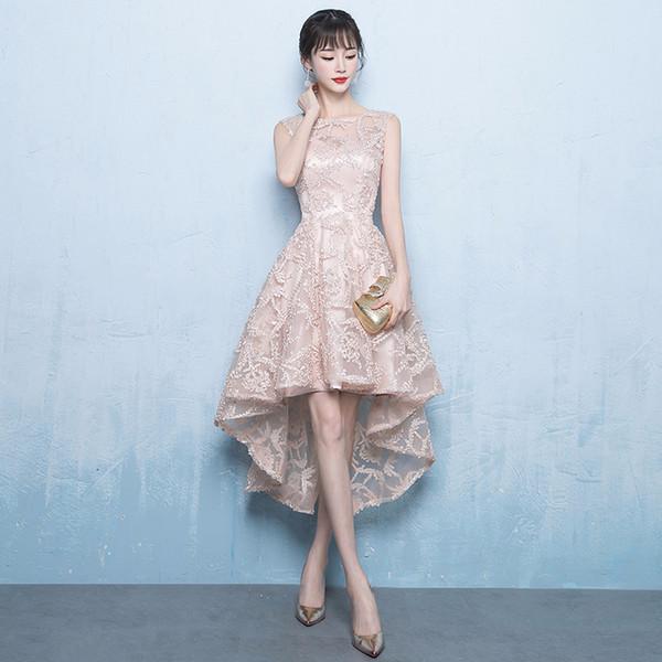 Dama De Honra Servir Champanhe Comprimento De Cor De Frente E Parte Traseira Do Vestido De Casamento Full Dress Host Show Serve Mulher Suzhou Vestido Cheio