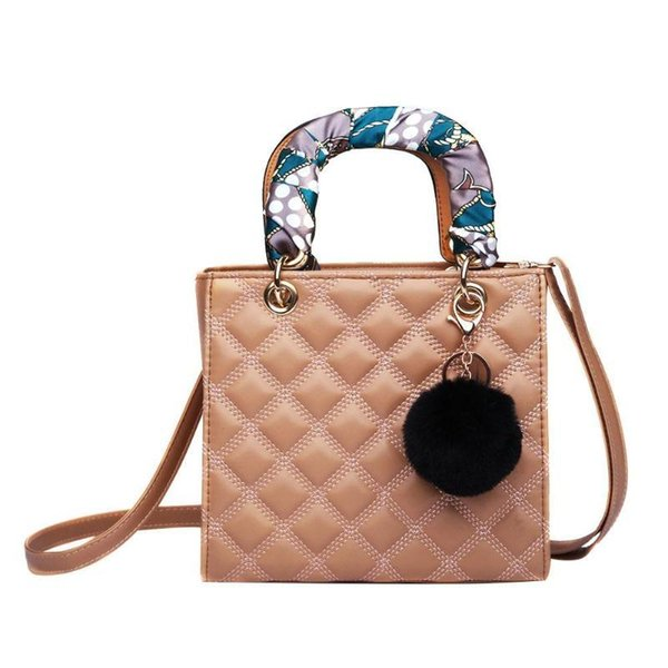 Bolsos de hombro del enrejado de las mujeres de cuero Mini Square Plaid Ladies Crossbody Messenger Bag Small Shopping Bolsa de hombro diaria
