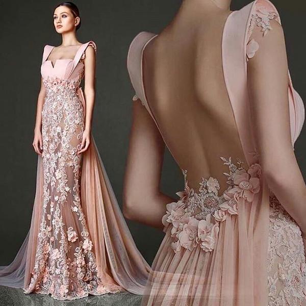 2020 Gorgeous Peach Chiffon Prom Dresses Strapless Mermaid 3D Flora Appliques Dubai Arabic Style Formal Evening Occasion Dresses Custom Made