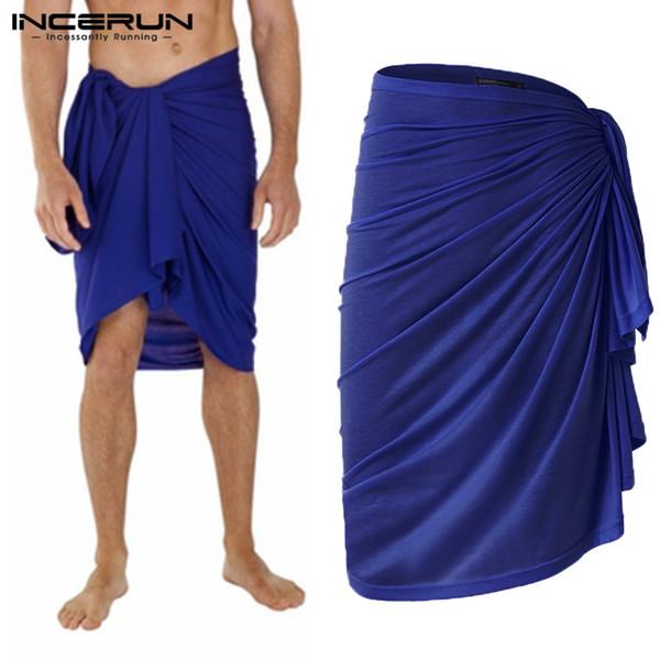 2019 Moda Masculina Toalha de banho Saias Saias Lazer Roupões cor sólida Homewear solto Pijama Praia Homens Toalha Cobertor