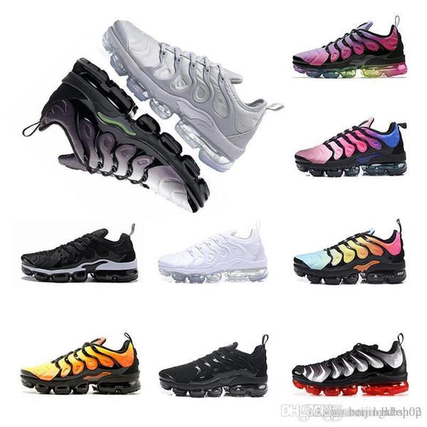 2018 TN plus Hommes Femmes Chaussures Homme Chaussures Olive Blanc Argent Noir Colorways Triple Pack Noir Hommes Chaussures de sport