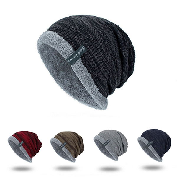 Wholesale Winter Men Knitted Wool Hat Plus Velvet Breathable Warm Hats Outdoor Elastic 5 Colors Male Thicken Knitted Woolen Caps DH0770 T03