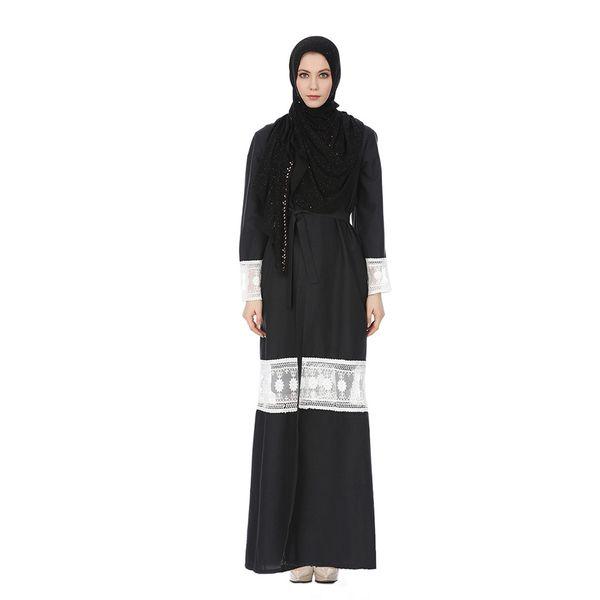 Mode féminine élégante musulmane longue dentelle Cardigan longues robes de tempérament culte Maxi Dress z0415