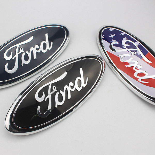 top popular FIT For Ford Logo 9 Inch Front Hood Bonnet Emblem Badge and Rear Trunk Sticker F150 F250 Explorer auto Logo DHL free shipping 2021
