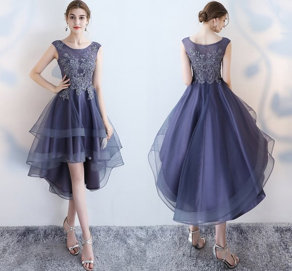 A-Line Winter Fashion Before The Short Formal Long Evening Dresses Fashion Shoulders Collar Lace Decals Crystal Bead Ball Prom Dresses