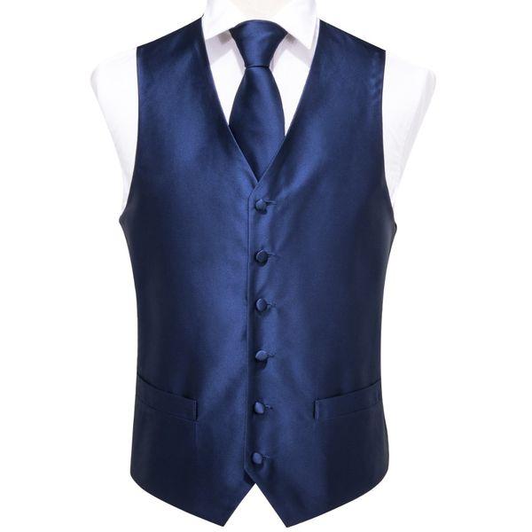 Hi-Tie High Quality Silk Blue Vests for Men Classic Party Wedding Waistcoat Vest Necktie Pocket Square Cufflinks Set VE-0003