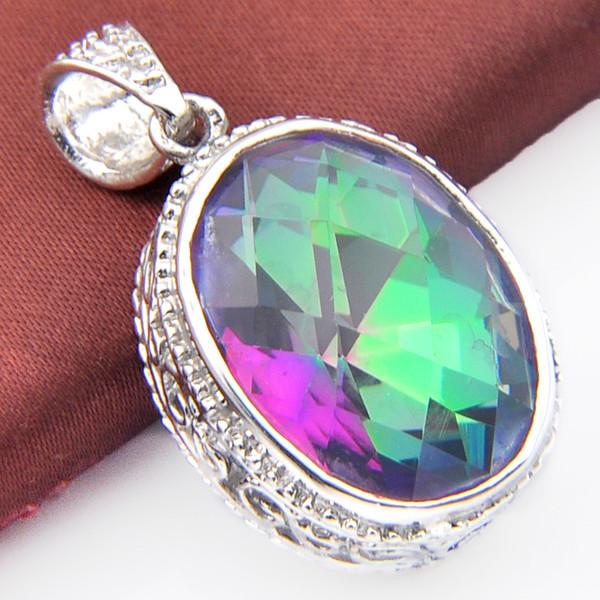 Élégant Goutte Bleu /& rainbow Topaz Gemstone Silver Chaîne Collier Pendentif