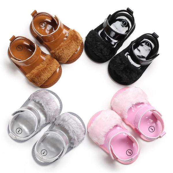 Kadife Kızlar sandalet kürk decro pu Bebekler 3 boyutu sevimli bebek girsl satılan renk antil-slip yumuşak taban yaz ayakkabı 2019 yeni