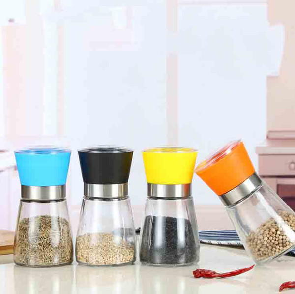 High Quality Best selling Glass Pepper set Salt Herb Spice Hand Grinder Abrader Mill manual pepper mill Kitchen Tool 6 color Gift