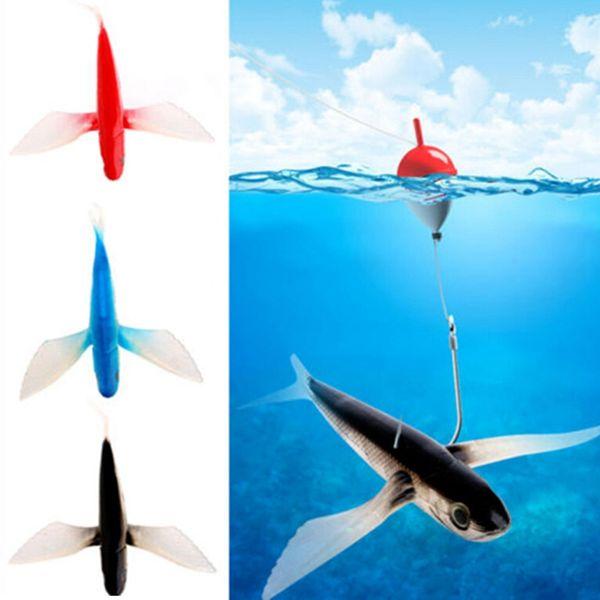21cm 127g Trolling Flying Fish Soft Baits 3D Eyes Mackerel Tuna Fishing Lures Big Game Fish Seawater Boat Fishing Tackle Pink Black Blue