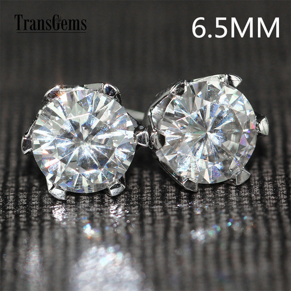 Transgems Solid 14k 585 White Gold 2ctw 6.5mm F Color Moissanite Stud Earrings For Women Birthday Gift Push Back Earrings Y19032201
