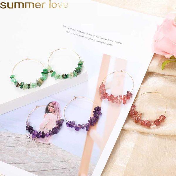Orecchini di pietra naturale colorati fatti a mano a cerchio per le donne Orecchini di goccia di pietra di cristallo di Boemia Gioielli di moda Matrimonio all'ingrosso