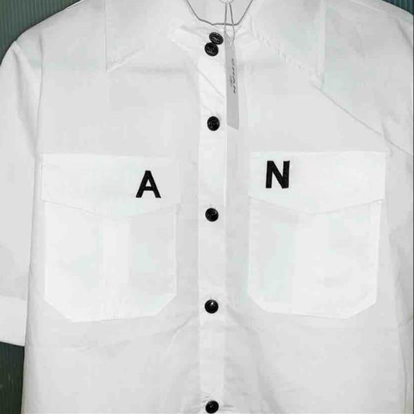 Neue Ankunft Frauen Brief Kurzarm Hemd mit Stempel Sommer Weiß Bluse Shirt Baumwollhemd mit Tag S-L
