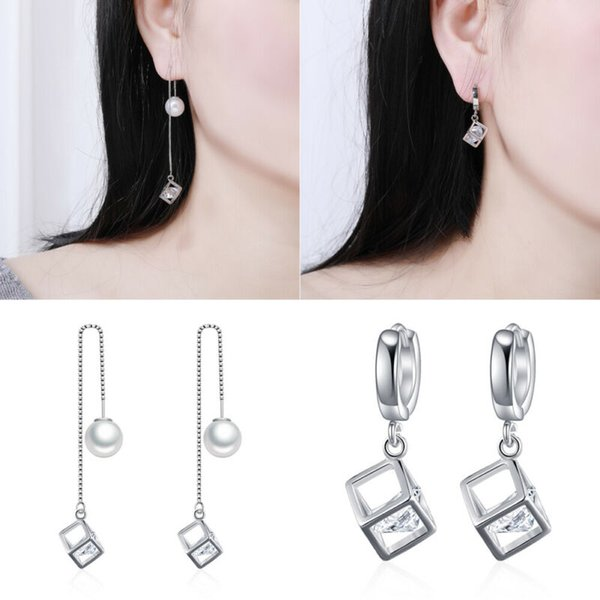 2019 mulheres na moda prata esterlina 925 Cubo de cristal brincos da orelha Linha Magic Cube Zircon