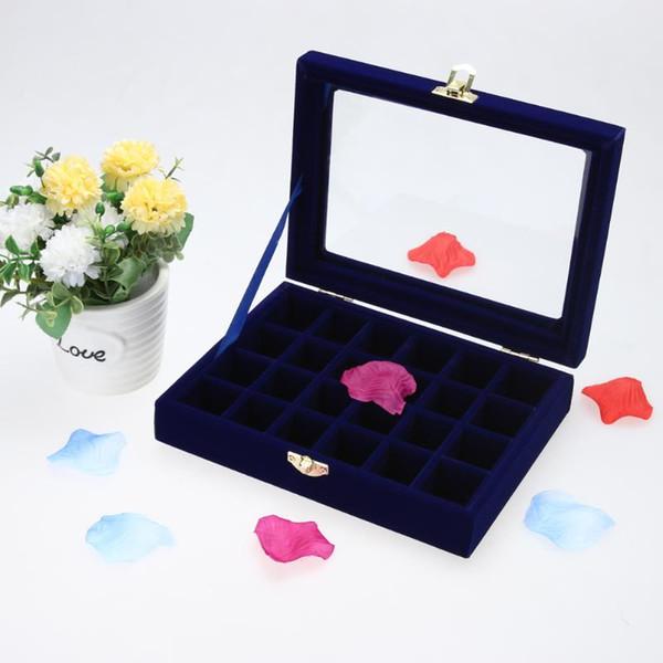 Blue Velvet Glass Jewelry Display Box Tray Holder Storage Box Organizer Gift Boxes for Jewellery organizador de joyas