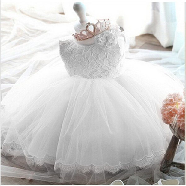 Infant Baby Girls Flower Dresses Christening Gowns Newborn Babies Baptism Clothes Princess Tutu Birthday White Bow Dress Q190518