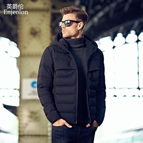 Sudaderas con capucha de la marca Enjeolon Chaqueta acolchada de algodón Abrigo para hombre Abrigo parka negro Moda acolchada gruesa Hombres talla grande S-3XL MF0279