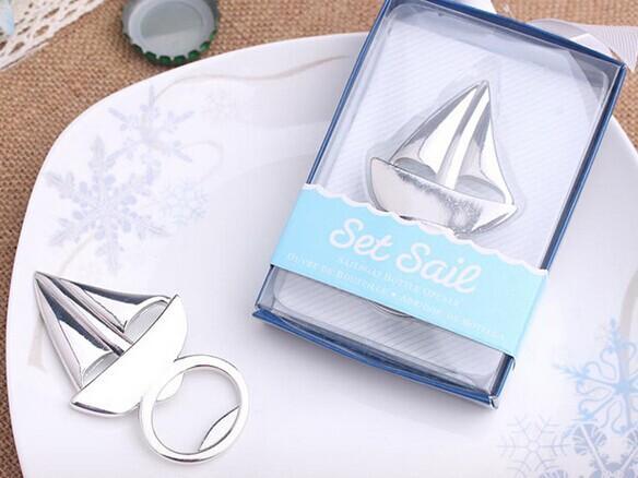 (20 pedazos / porción) náuticos Favores temáticos del regalo de boda de la vela barco botella abridor de novia decoraciones de la ducha y favores Beach Party
