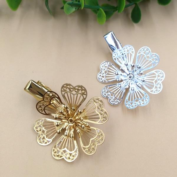 10pcs 35/32mm Metal Gold French barrettes fashion 3D flower hair pin women Alligator clip hairpin silver hairclip hairwear diy jewelry