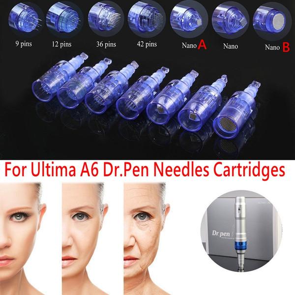 50 pz / lotto Cartuccia Ago Per 9/12/36/42 / Nano penna derma Microneedle punte Ricaricabile wireless Derma Dr. Pen ULTIMA A6 cartuccia ago