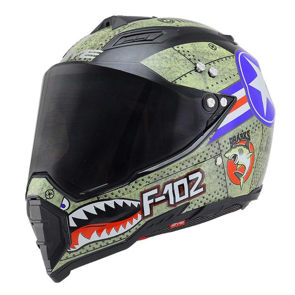 BYE Motocicleta Capacete Homens Rosto Cheio Capacete Moto Equitação ABS Material Aventura Motocross Moto DOT Certificação