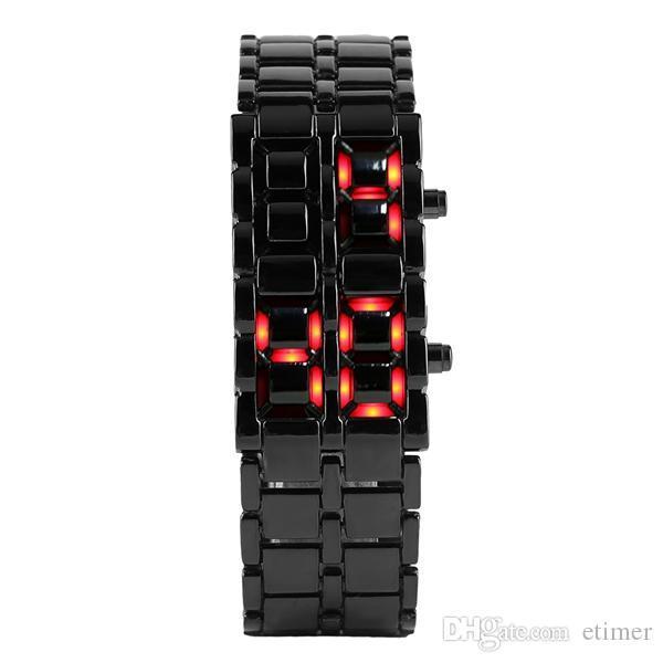 Moda Preto Full Metal Digital Lava Relógio de Pulso de Ferro De Metal Vermelho LED Samurai para Homens Menino Esporte Relógios Simples