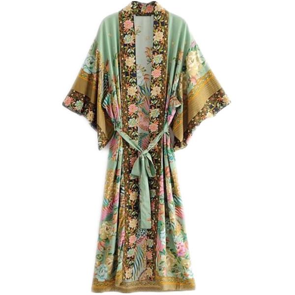 Bohemian V-cut Şeftali Çiçek Baskı Uzun Kimono Gömlek Etnik Ile Yeni Dantel Up Netlik Uzun Örgü Ceket Kaybetmek Bluz Tops Femme Y19071201