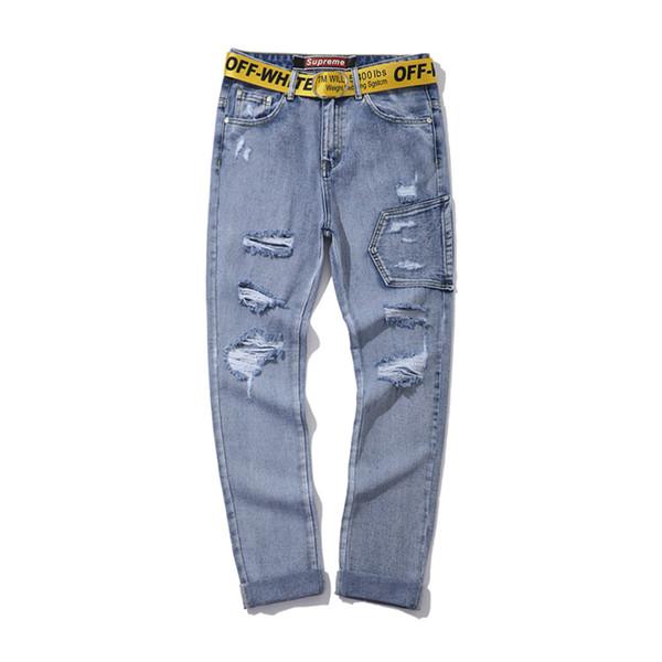 Off hommes wonmen Jeans pantalons Trou blanc bleu bombe Micro lumière de nouveaux pantalons petits pieds droits Casual Pantalons Pantalons DESIGNERS Pantalon droit