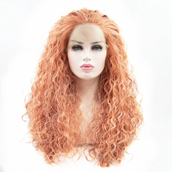 Free Shipping 180% Density Long Loose Deep Curly Synthetic Lace Front Wigs with Baby Hair Fashion Pink Cosplay Wigs for Women Free Part