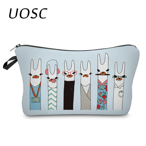 UOSC 3D Unicorn Printing Cosmetic Bags Cute Animal Heart Organizer Women Girl Makeup Necessaries For Travel Gifts
