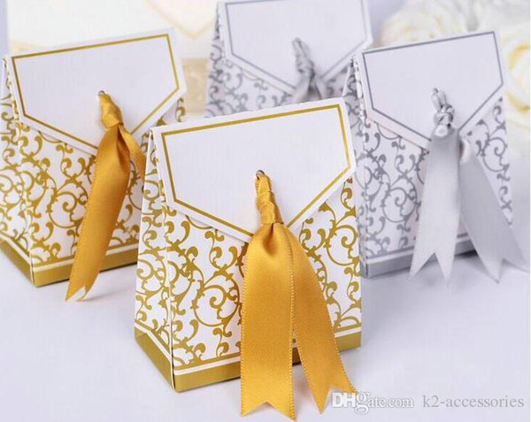 Wedding Favour Bag Sweet Cake Gift Candy Wrap Paper Boxes Bags Anniversary Party Birthday Baby Shower Presents Box gold silvery jewelry box