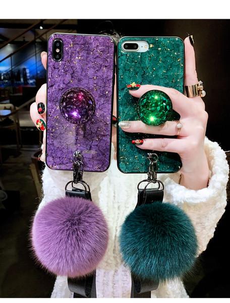Luxury Fashion Emerald Shiny Diamond Expandable Airbag Bracket Fox Fur Ball Phone Case For iPhone 6 7 8 plus XR XS MAX Cover