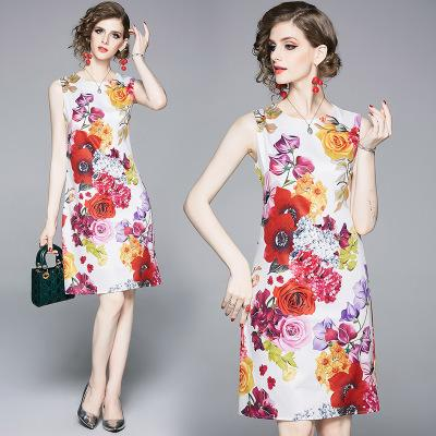 40912adf56d64 2019 moda bayan yazlık elbiseler, seksi kolsuz baskılı bir elbise, 100%  polyester,