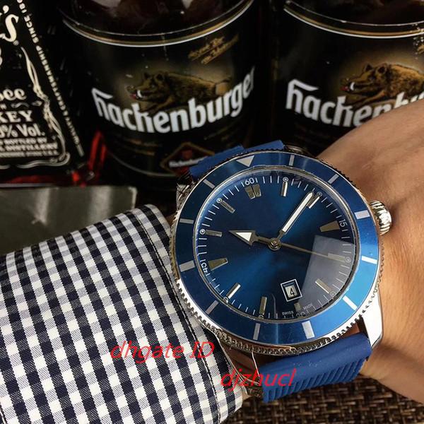 2019 top luxe montres mécaniques automatiques mens bleu cadran silicone bracelet 5 ATM pointeur lumineux étanche orologio di lusso