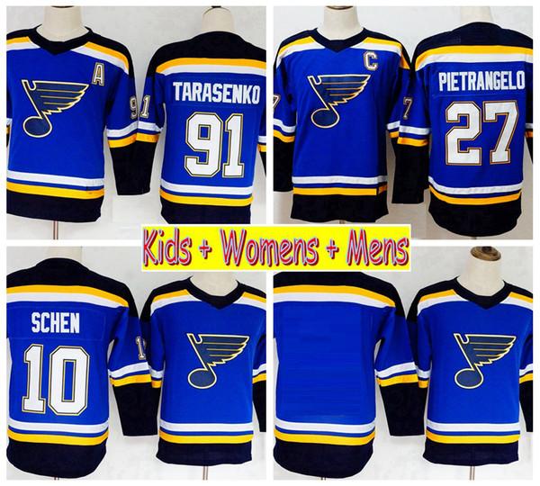 finest selection 8e616 1ce2c 2019 2019 Youth St. Louis Blues Hockey Jerseys 91 Vladimir Tarasenko 27  Alex Pietrangelo 10 Brayden Schenn Home Blue Kids Womens Mens Shirts From  ...