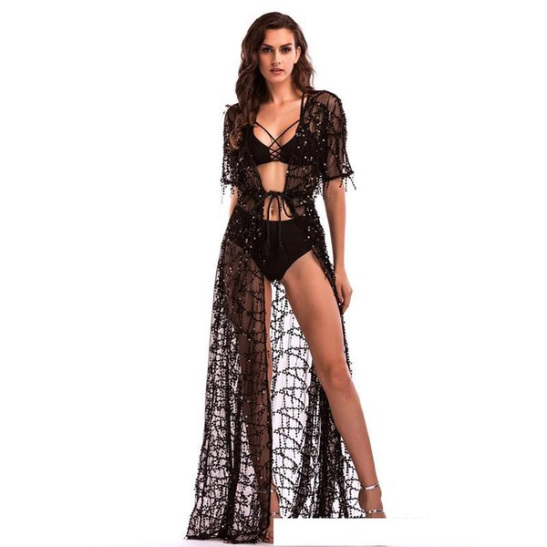 Hot Sexy Bikini Cover-Up Dresses Sequined Tassels Maxi Casual Dresses Deep V-Neck Short Sleeve Kimono Dress Beach Party Prom Dresses LJH0402