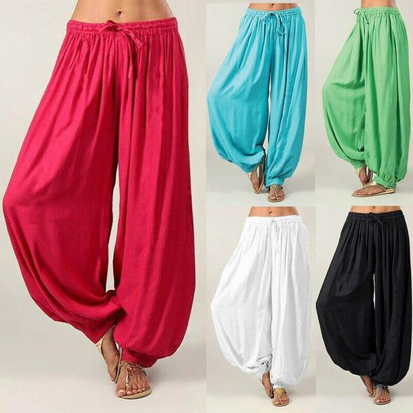 Pantalón de baile para mujer Pantalón elástico holgado de cintura alta Harén de algodón más el tamaño S-3XL