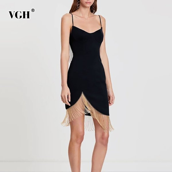 a3f38ab3af8 VGH 2019 Summer Black Sexy Women s Dress Strap Off Shoulder Backless Hem  Asymmetrical Tassel Dresses Female