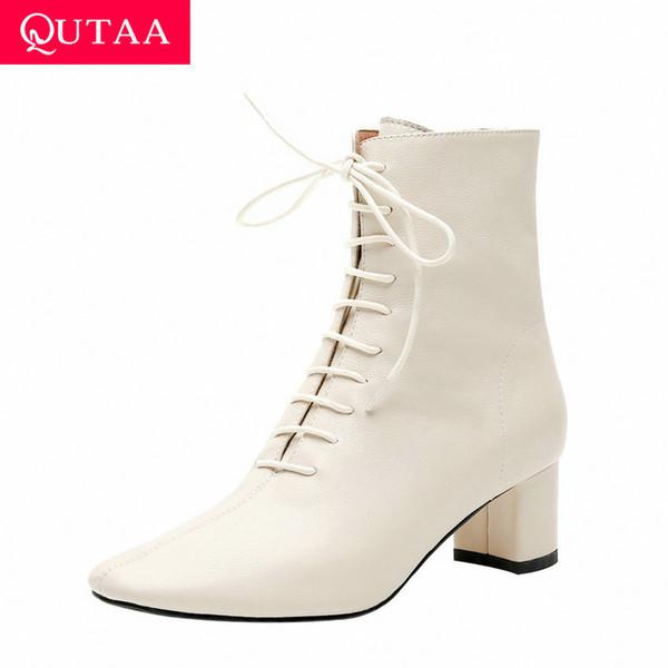 QUTAA 2020 Retro Kare Ayak Fermuar Lace Up Sıcak Kürk Kadın ayakkabı Hakiki Deri Kare Yüksek Topuk Kış Ayak Bileği Çizmeler Boyutu 34-42