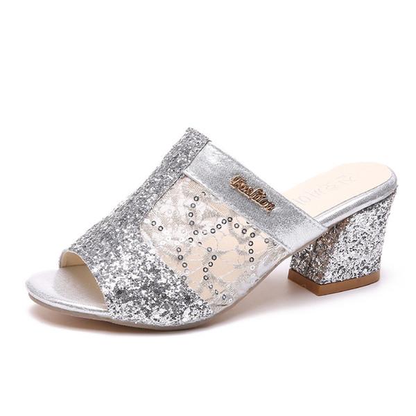 Sequined Cloth Block Heel Shoes Crystal Sandal Open Toe Gold Gladiator Heels Sandalias Summer Elegante Sexy Shoes Women Sandals Flip