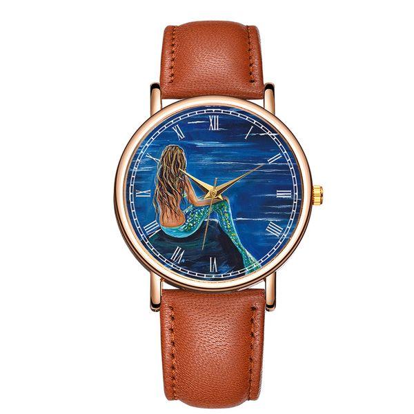 Classic Fashion mermaid Quartz Wrist Watch Leather Men Women Charm Bracelet Watch relogio masculino