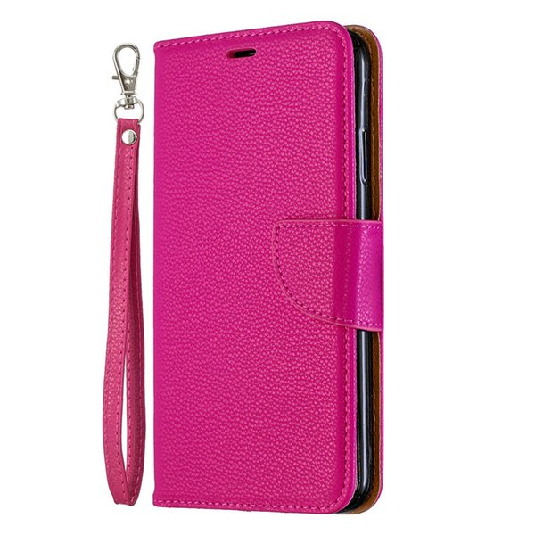 Flip Cover Stand Portefeuille Pour iPhone XS Max Cas Pure Color Motif Lichee PU Cuir Téléphone Mobile Cas